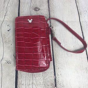 Disney Parks Red Crocodile Wristlet Wallet